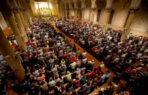 Crowd inside Saint Paul Cathedral Boston